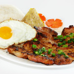 Grilled Pork, Grilled Chicken, Steamed Crab Meat & Fried Egg