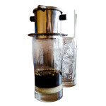 Filter coffee with condensed milk & ice